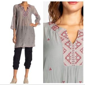 NWT Johnny Was Ava Embroidered 3/4 Sleeve Tunic